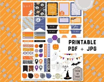HALLOWEEN PLANNER Stickers- Happy Halloween Printable stickers Pdf+ Jpg Orange black stickers for Erin Condren Bats Phantoms Pumpkins Witch