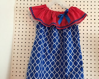 Quatrefoil print, red,white,blue patriotic americana dress - 4T ready to ship, request other sizes