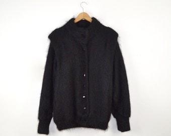 Vintage Mohair Cardigan |  Vintage Black Mohair Jacket | Oversized Vintage Mohair Sweater