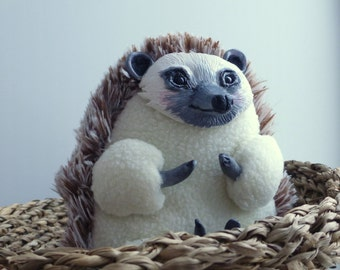 Hedgehog OOAK art doll animal handmade plush ooak gift cute home decor doll