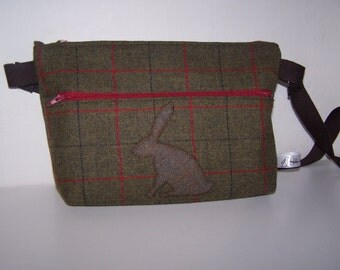 Hare and tweed bag.  Rabbit and tweed handbag. Pagan, wicca, gift for her, Mothers Day gift, birthday gift, anniversary gift