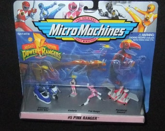 Power Rangers #Pink Ranger Micro Machines retro 1994 carded by Galoob (74700)
