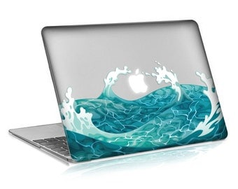 Macbook Rubberized Hard Case, Swirling Wave Design with Clear Bottom Case