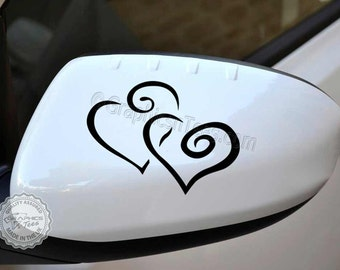 Heart Car Sticker Wing Mirror Vinyl Graphic Decal, Bumper Stickers
