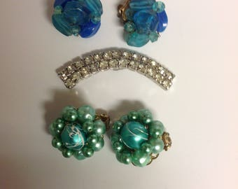 Craft Lot Vintage Jewelry | Vintage Beaded Earrings for Repair | Rhinestone Craft Jewelry | Upcycle Jewelry Lot