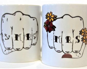 MR & MRS tattoo fist pair mugs Tattoo Mug Lady wedding gift valentines gift anniversary his and hers gift
