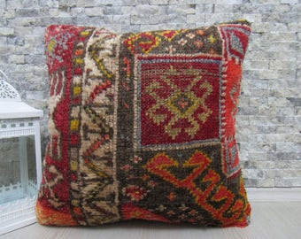 Anatolian Nomadic Pillow 20x20 Kelim Kissen Vintage Turkish Rug Handmade  Pillow Kilim Ottoman Organic Pillow Bohemian