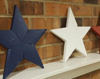 Reclaimed wood red white and blue stars