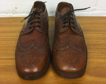 1950's/1960's Vintage Mens Tan/Brown Leather Lace Up Shoes/Brogues/Wingtips by LOAKE Bros. Made in England UK Size 8