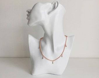 SALE - Rose Gold Rolo Chain Teardrop Choker Necklace