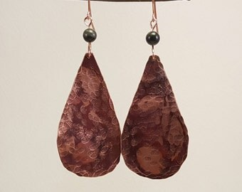 Copper Dangle Earrings - Hammered Copper Earrings - Copper Teardrop Earrings - Handmade Copper Earrings with Jade
