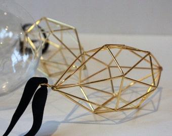 Geometric Ornaments, Himmeli Inspired Ornaments, Gold Ornaments. Christmas Ornaments, Modern Ornaments,Hexagon shape ornaments,