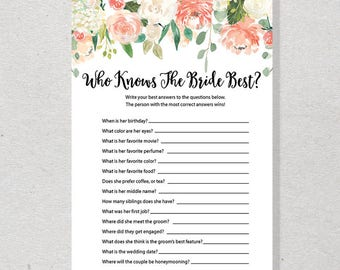 How Well Do You Know The Bride, Peach Floral Who Knows The Bride Best, Garden Printable Bridal Shower Game - SKUHDG23