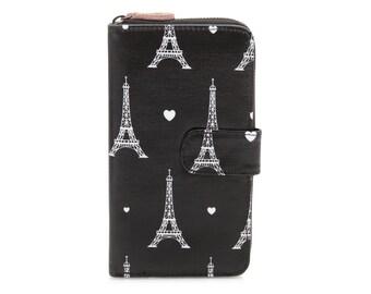 Oilcloth Clutch wallet- Paris Eiffel Tower - Oil cloth ladies purse - Zip around wallet - Bifold wallet- Coin purse- Laminated - Iphone Plus