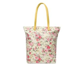 Zip Tote bag - Pink rose - Oilcloth bag- Ladies handbag- Ladies purse- Oil cloth Tote- Women Shoulder bag - Market Tote bag - Floral Shopper