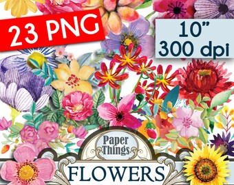 23 png Watercolour Flower Clip Art - Flower Clip Art - Floral Clip Art - Digital Flower Floral Clip Art - Wedding Flowers Clip Art - O4