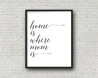 Home Is Where Mom Is, Digital Art Print, Instant Download, Home Sign, First Home Decor, Typography, Typography Poster, Printable Sign, Decor
