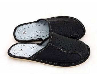Pantoufle Chausson Homme Cuir Naturel Confortable Taille 40 41 42 43 44 45 46 Fabrication Artisanale