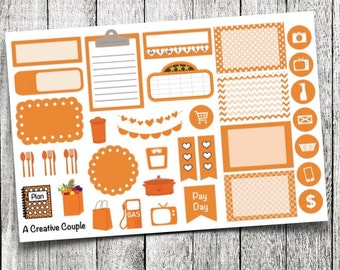 Orange Assortment Planner Stickers