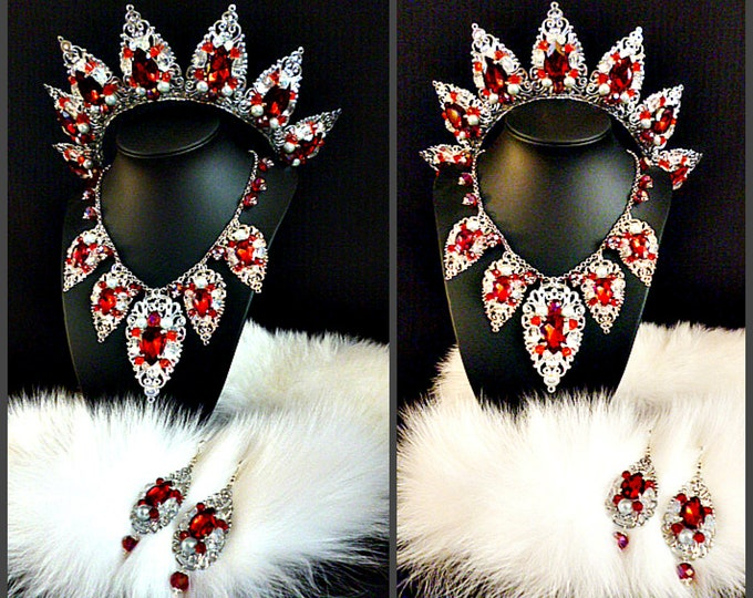 Silver Red Siam Tiara Crown and earrings Necklace Jewelry Baroque Halloween Wedding Bridal Set Gift For Wife Birthday Party dancer headdress