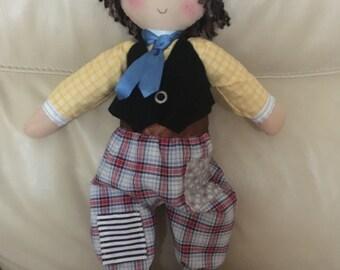 boy rag doll, handmade rag doll, unique rag doll