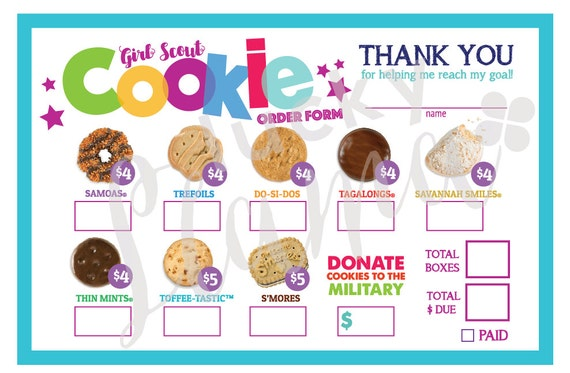 2018 Girl Scout Cookie Order Form/Military Option Printable