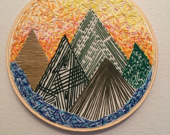 mountainscape // confetti sunrise // 8in hand embroidered hoop