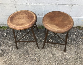 Pair of Angle steel stool industrial 100r michigan