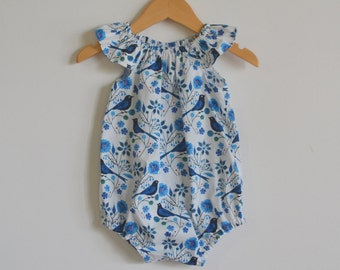 Baby girls playsuit // flutter sleeve // romper // organic // blue birds //baby gift // baby shower