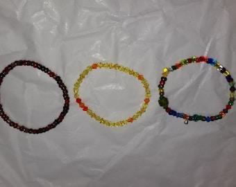 Set of 3 Stretch Beaded Bracelets (B)