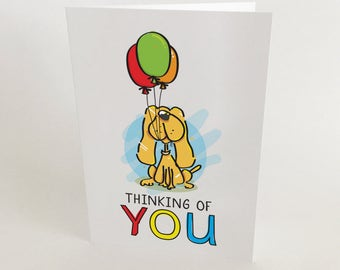 THINKING OF YOU Greeting Cards, Set of 5, Colour, Blank Inside