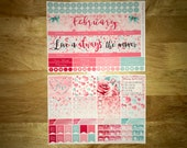 February St Valentines Day Vertical and Horizontal Monthly Calendar View Planner Stickers for Erin Condren LifePlanner