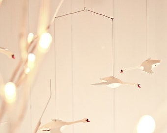 Swan mobile, kinetic art, hanging mobile, paper sculpture, present, mindfulness present, valentines present, home decor