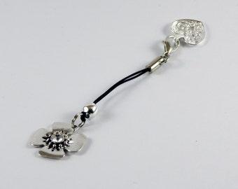 Black Corded Clasp Heart Opener works with Pandora / Chamilia Charm Bracelets