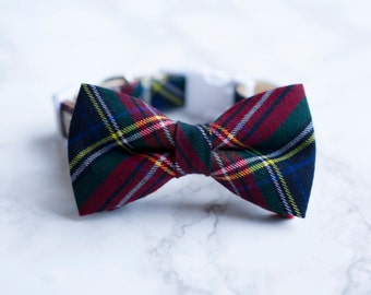 Bow Tie Collar | Navy Green Tartan Bow Tie | Dog & Cat