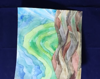 Abstract land-watercolor on watercolor paper
