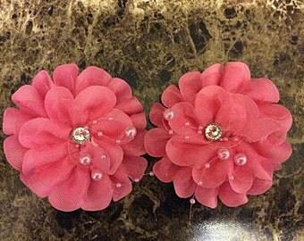 One (1) Pink Flower Handmade Hair Clip