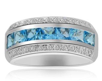 3.22 Carat Princess Cut Blue Topaz with Diamond Cocktail Ring 14K White Gold