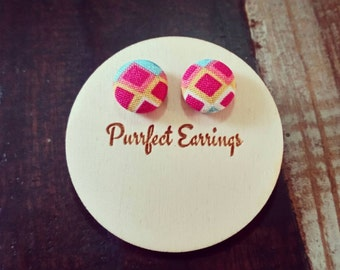 Handmade bright and colourful 12mm button earrings