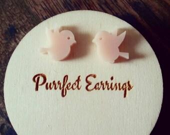 Cute laser cut pink acrylic bird stud earrings