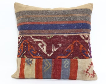 Anatolian Patchwork Kilim Pillow 24x24 Handwoven Kilim Pillow Sofa Pillow Ethnic Pillow Cushion Cover SP6060-714