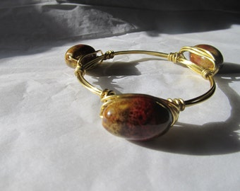 Large Earth-toned Glass Beads Gold Wire Wrapped Bangle Bracelet