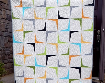 Modern Lap Quilt, Contemporary Quilt, Mid Century Modern Quilt, Handmade Quilt, Ready to Ship