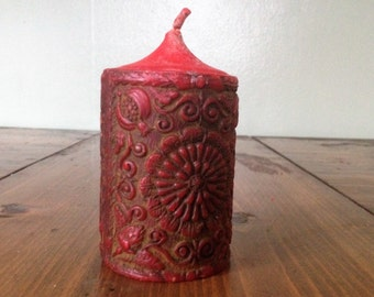 Vintage Retro German Drogerie Abels Red Pillar Candle Red