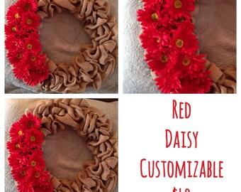 Red daisy customizable wreath
