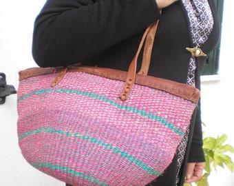 Shoulder Bag - Sisal Leather Bag- Woven Sisal bag - 70's Inspiration - OficinaDartesa*Craftswoman Shop