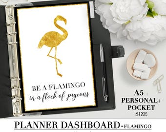 Printable DASHBOARD for your Pocket, Personal and A5 Planner_FLAMINGO quote_Planner Divider_Printable divider_Filofax