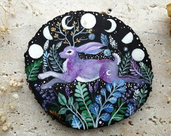 Rabbit with antlers, painting on wood, Easter painted ornament, glow in the dark moon phases , Easter Bunny painting gift