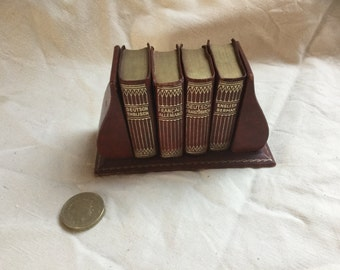 French Vintage Miniature Leather Bound Dictionary Ser