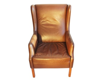 Danish MCM Wingback Leather Chair